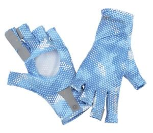 Simms Solarflex sungloves hex camo sky blue