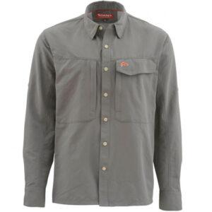 Simms long sleeve pewter guide fishing shirt