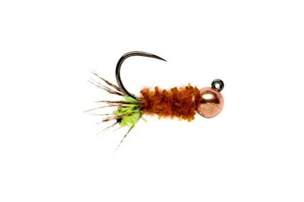CHEWING GUM CASED CADDIS CHARTREUSE BARBLESS Fly