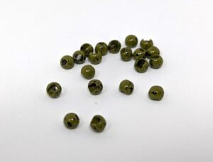 Hareline Mottled Olive Slotted Tungsten Beads